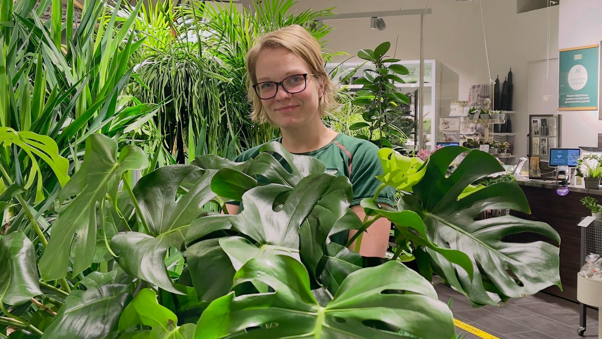 Dame med grønne planter fra Mester Grønn