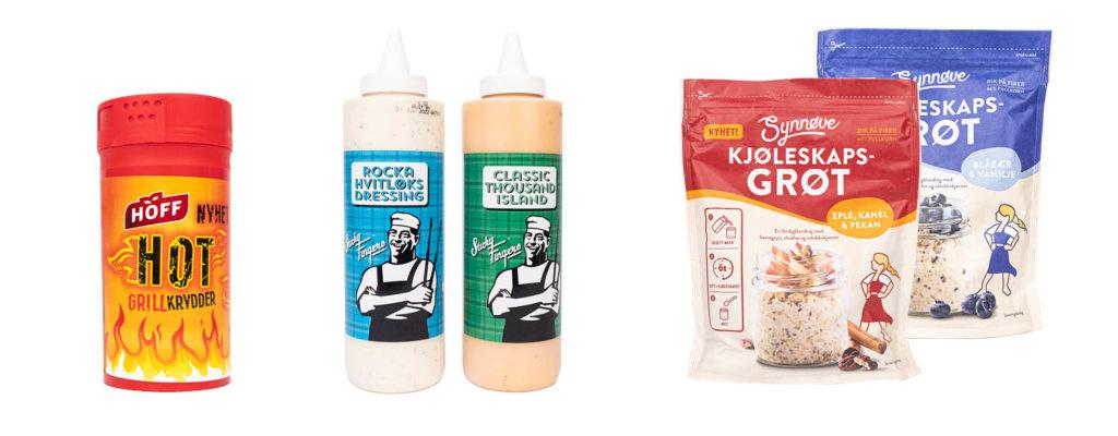 CC Mat matnyheter, hoff hot grillkrydder, sticky fingers dressinger og synnøve kjøleskapsgrøt