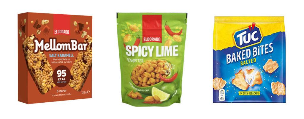 CC Mat matnyheter, mellombar med salt karamell, Eldorado Spice Lime nøtter og Tuc Baked bites med salt