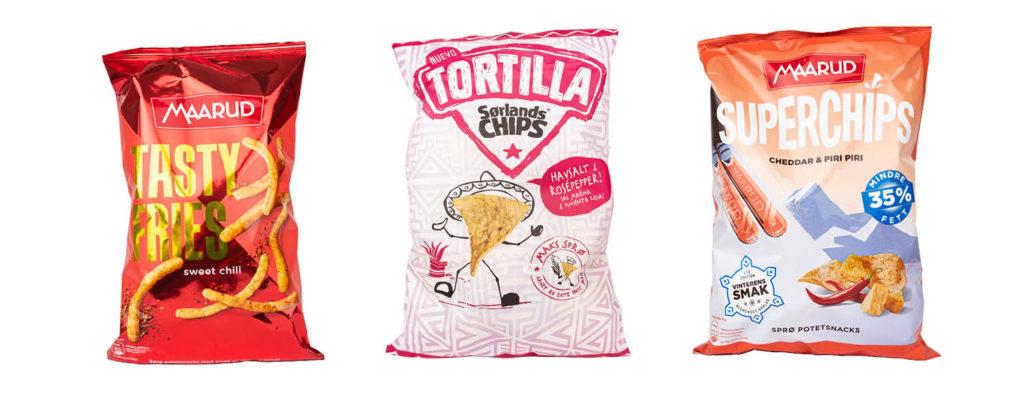 CC Mat matnyheter, Maarud tasty fries med sweet chilli, Sørlandschips tortilla og Maarud Superchips med cheddar og piri piri