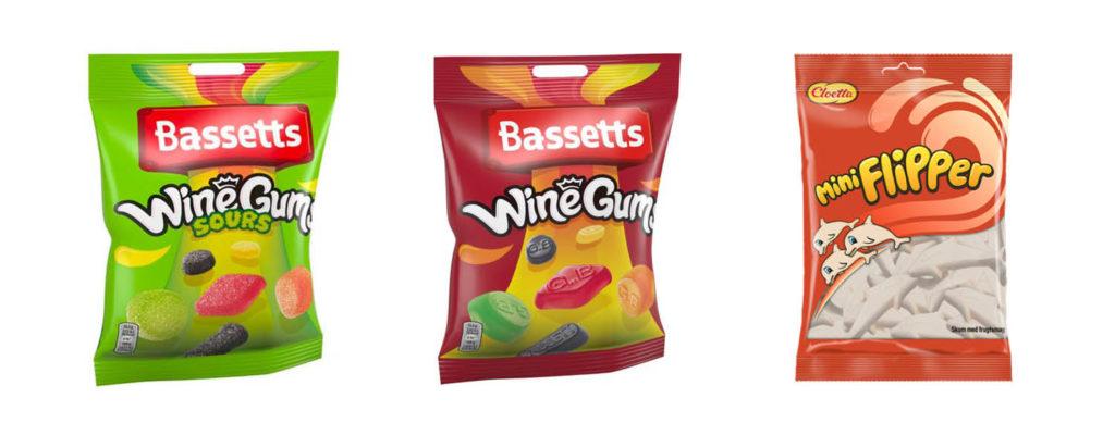 CC Mat matnyheter, Bassets Wine Gum, Sour Bassets Wine Gum og Coletta Mini Flipper