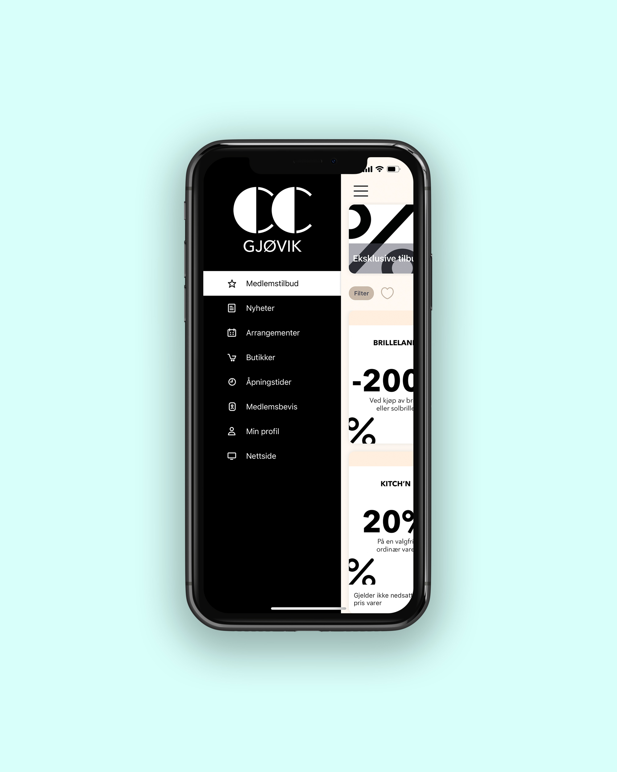 CC Gjøvik kundeklubb app, forside