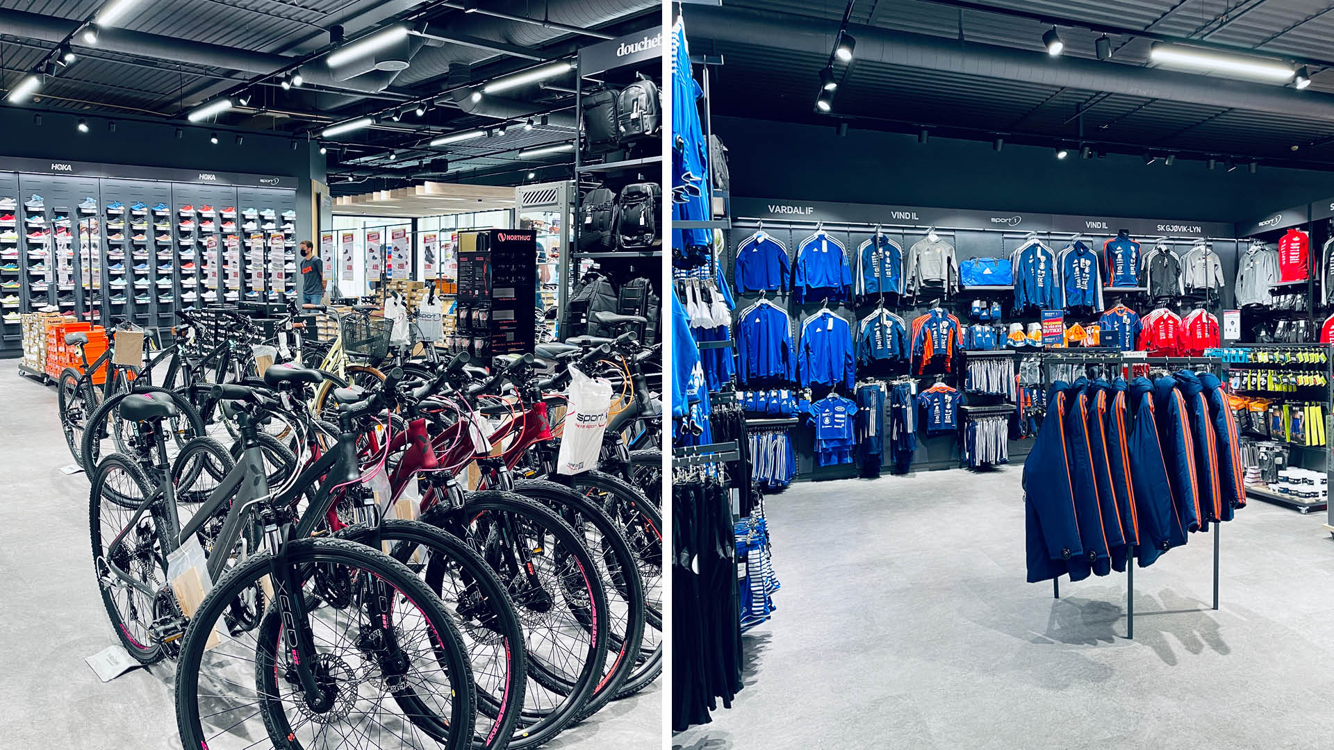 Sykler og sportstøy i Amundsen Sport sine nye lokaler