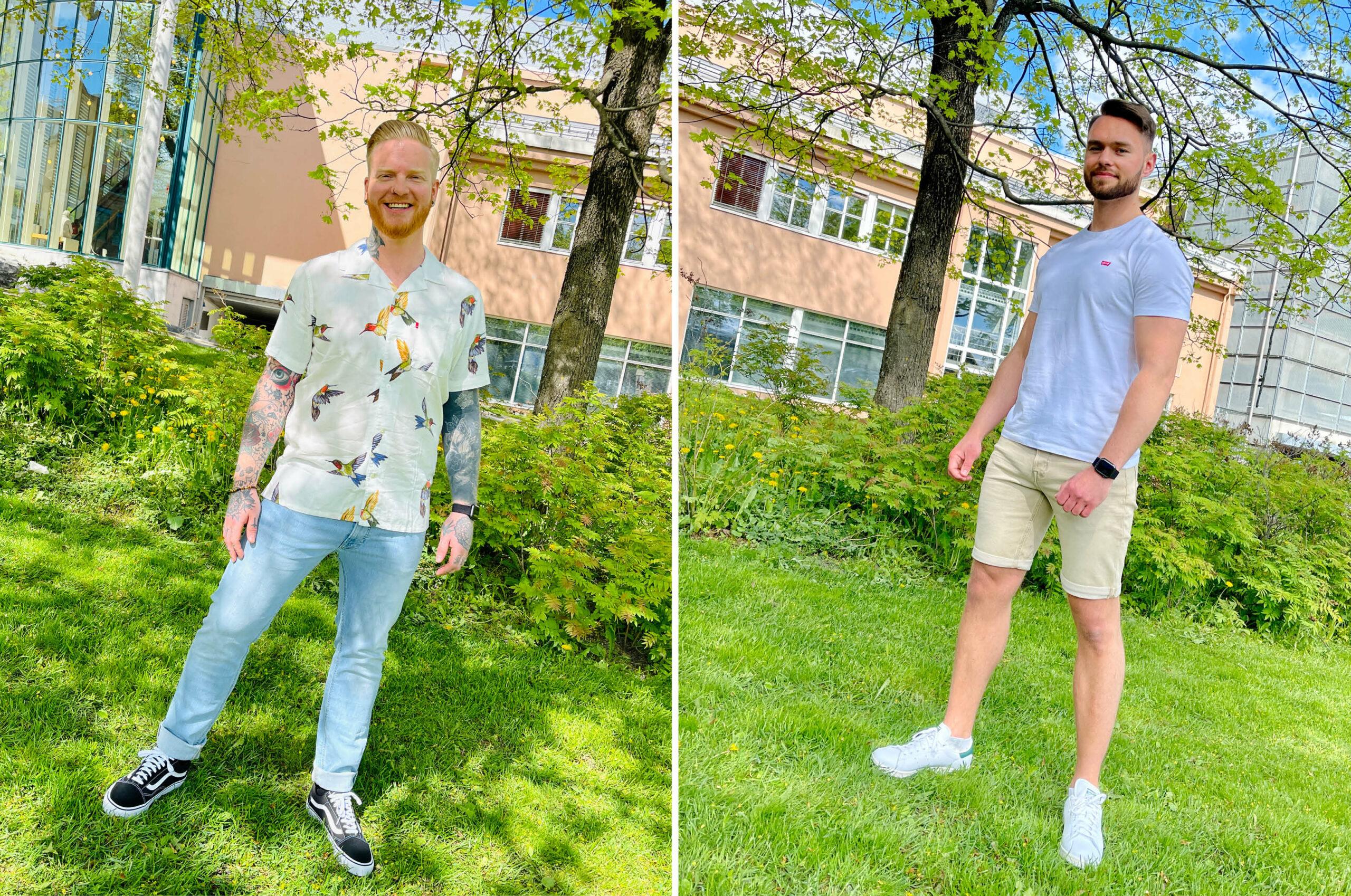 Modeller med klær fra Carlings og sko fra Junkyard