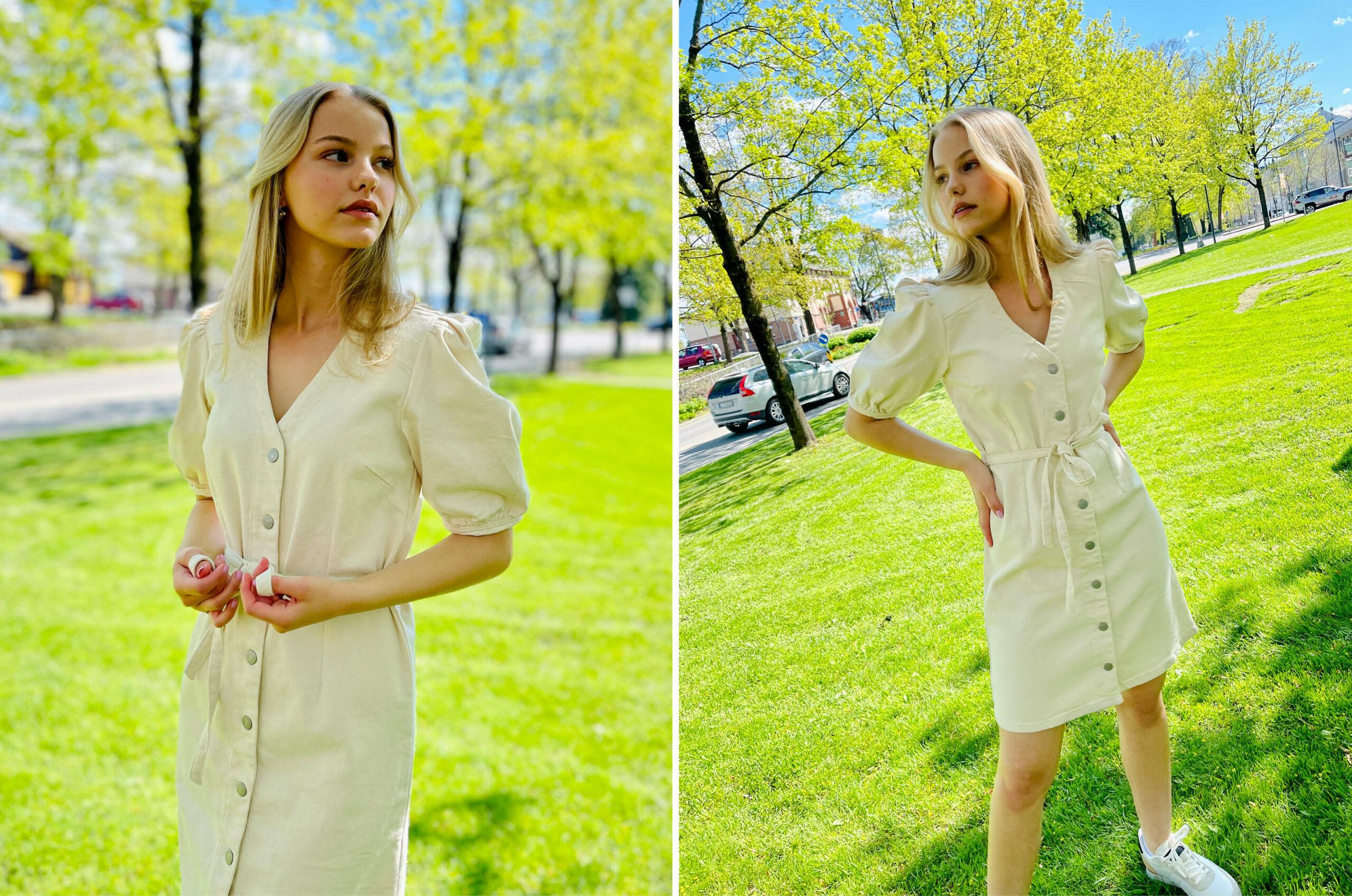 Modell med kjole fra Vila