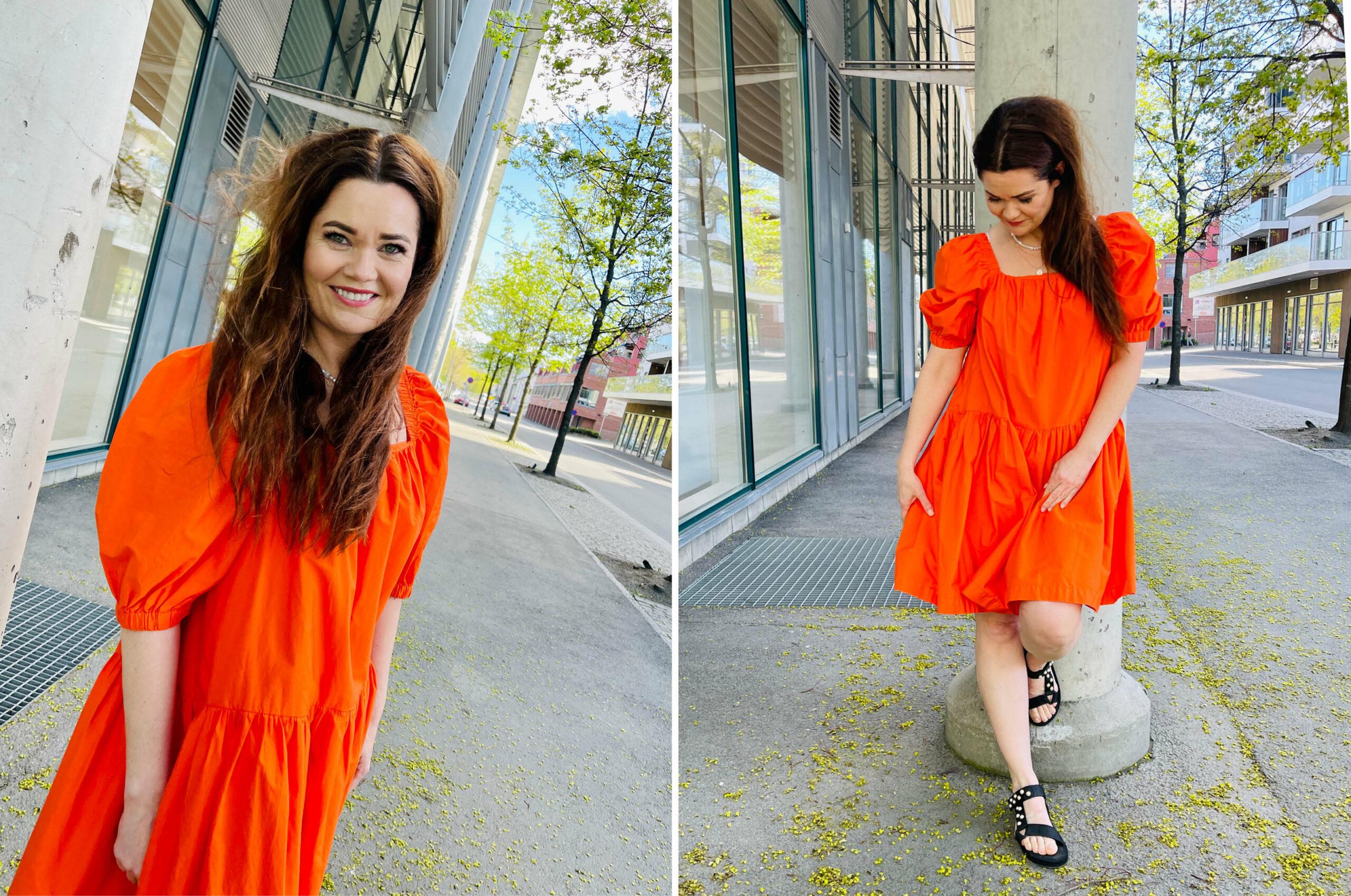 Modell med kjole fra Gina Tricot