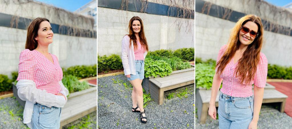 Modell med klær fra Gina Tricot