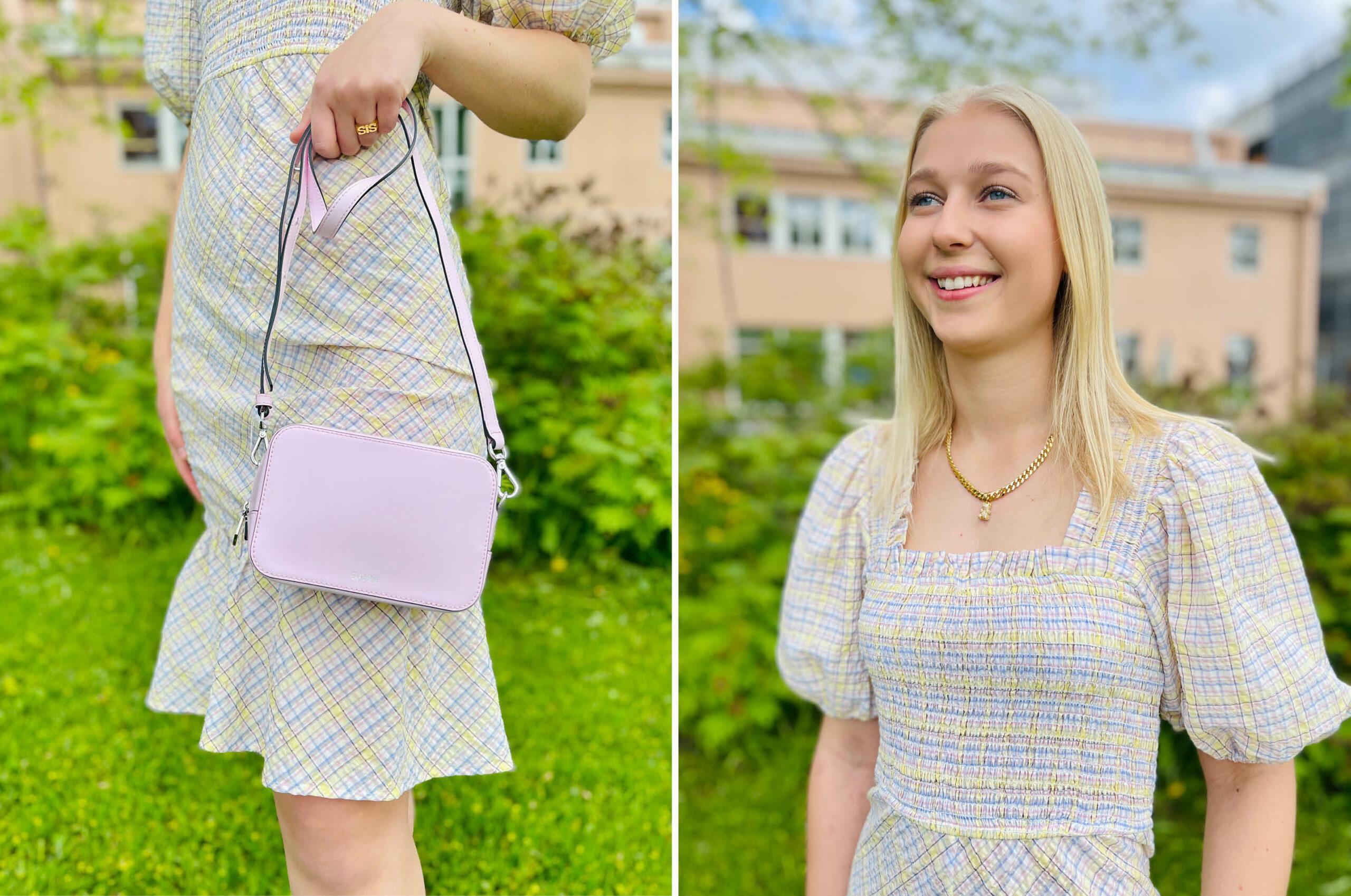 Modell med kjole fra Hvit Tråd