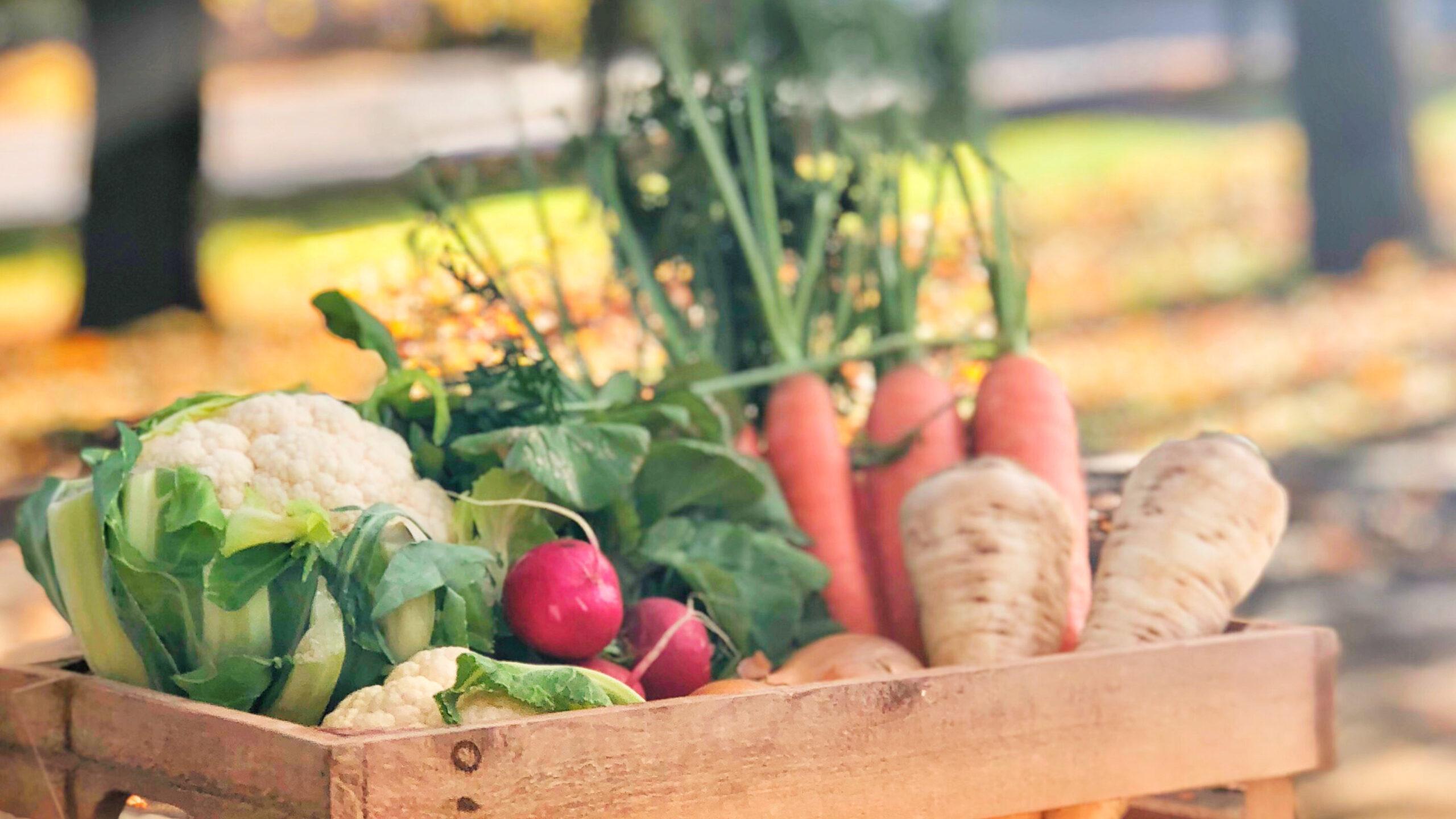 Kasse med grønnsaker i høstmiljø