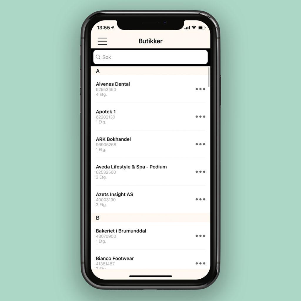 Bilde av kundeklubb app butikkoversikt