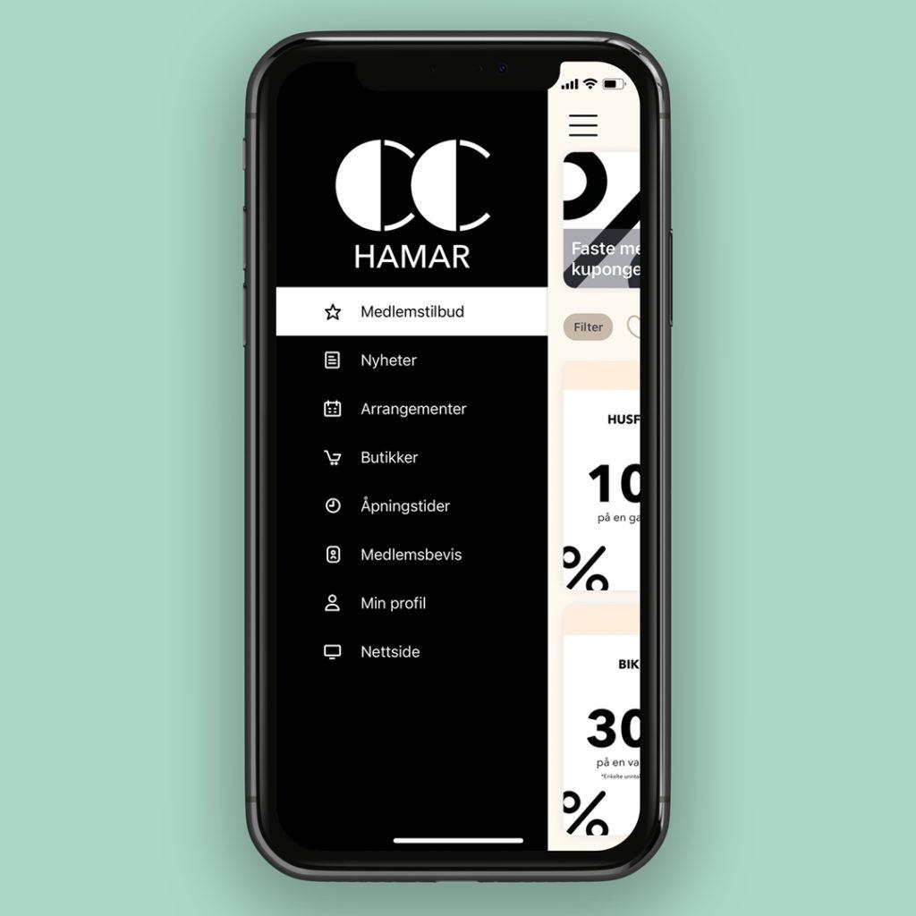 Bilde av kundeklubb app meny