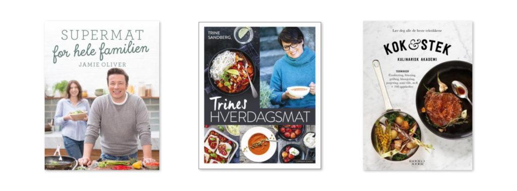 Bilde av bokcover supermat for hele familien, Trines hverdagsmat og Kok og stek