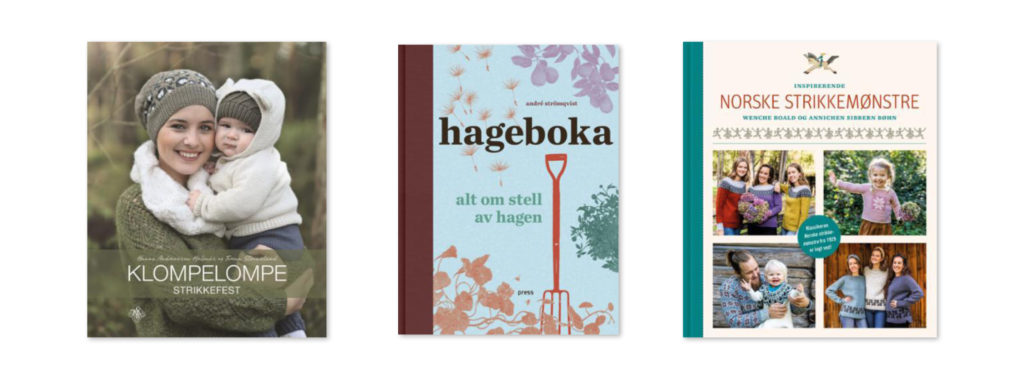 Bilde av bokcover klompelompe, hageboka og norske strikkemønstre