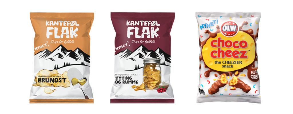 Bilde av matnyheter fra Kanteføl Flak glutenfritt potetgull med brunost, tytting og rumme, og OLW Choco Cheez