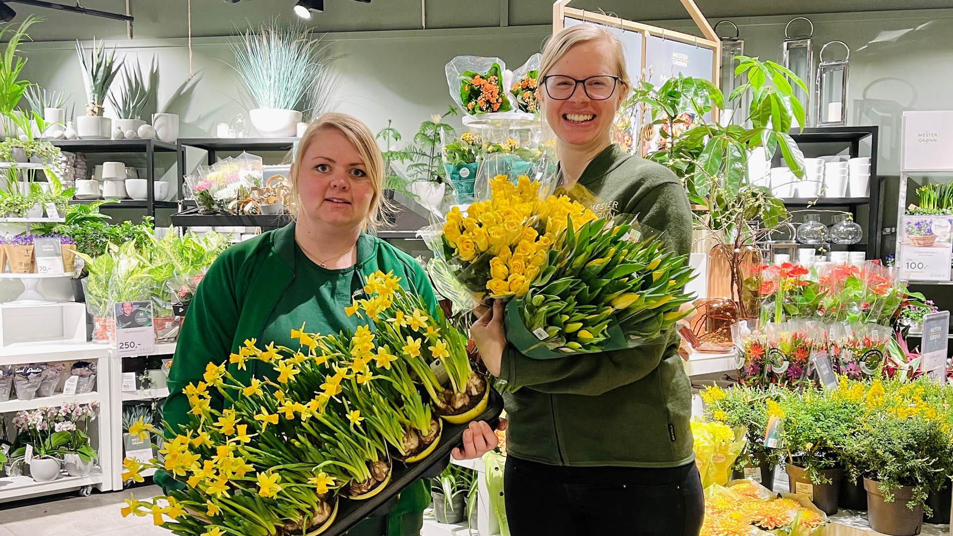 Damer hos Mester Grønn med påskeblomster
