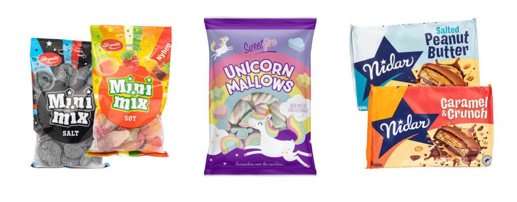 Bilde av matnyheter godteri Brynild Mini Mix salt eller søt, Sweetfire Unicorn Mallows, Nidar kjeks med Salted Peanut Butter eller Caramel & Crunch