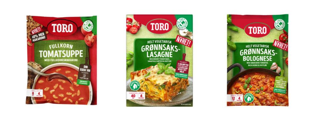 Bilde av matnyheter fra toro, fullkorn tomatsuppe, grønnsakslasagne og vegetarisk Grønnsaksbolognese