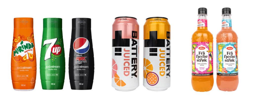 Bilde av matnyheter sodastream, battery og lerum saft